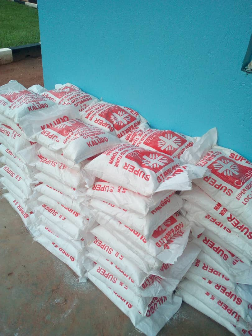 Part of the relief food given out to the needy in the parishes of Kasana-Luweero diocese